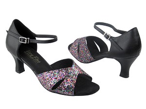 "6029 189 Party Sparkle & Black Leather with 2.5"" Low Heel in the photo"