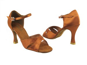 "6029 236 Dark Tan Satin with 3.5"" Heel in the photo"