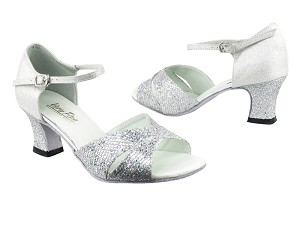 "6029 6 Silver Sparklenet_F_H_22 Silver Glitter Satin_B_S with 2.2"" Thick Cuban Heel in the photo"