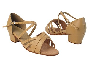 "6030 157 Beige Brown PU_X-Strap Arch with 2001_1.5"" Heel in the photo"