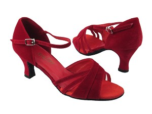 "6030 228 Red Velvet with 2.5"" low heel in the photo"