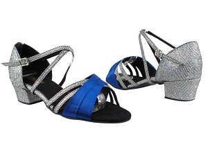 "6030 247 Gem Blue Satin_172 Grey Scale_1650 BackStrap with 1.5"" Medium Heel in the photo"