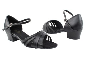 "6030 Black Leather with 1.5"" Medium Heel in the photo"