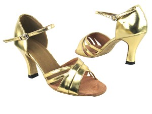 "6030 Gold Leather with 3"" Heel in the photo"