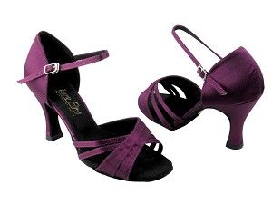 "6030 Purple Satin with 3"" Heel in the photo"