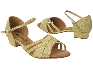 "6030LEDSS 31 Light Gold Glitter Satin with 1"" Heel (8881) in the photo"