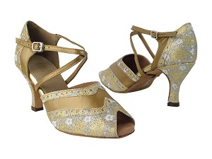 "6035 238 Flower Print Gold Stardust_186 Copper Leather Trim with 2.75"" Heel in the photo"