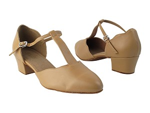 "6819 157 Beige Brown PU with 1.5"" Medium Heel in the photo"