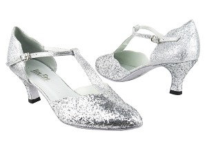 "6819 7 Silver Sparkle_F_H_126 Silver Stardust_B_S with 2.5"" Heel in the photo"