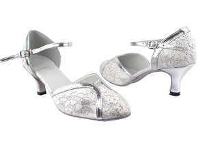 "6822 194 Lace White Stardust_Silver Leather Trim with 2.6"" Flare Heel in the photo"