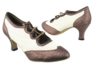 "6823 212 Copper Stardust_Creamy White Leather with 2.5"" low heel in the photo"