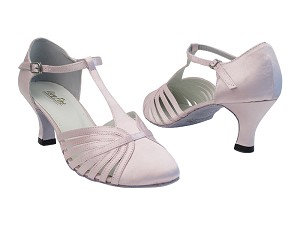 "6829 233 Light Pink Satin with 2.5"" low heel in the photo"