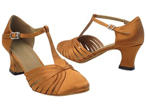 "6829 236 Dark Tan Satin with 2.2"" Thick Cuban Heel in the photo"