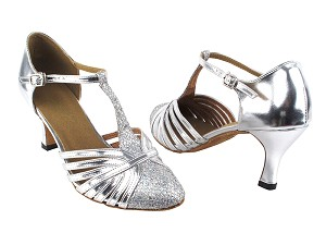 "6829 6 Silver Sparklenet_Silver PU with 2.75"" Heel in the photo"