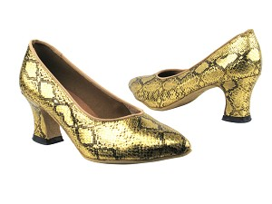 "6901 251 Gold Snake with 2.2"" Thick Cuban Heel in the photo"