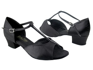 "801 Black Satin & Stone with 1.5"" Medium Heel in the photo"