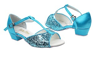 "801G 188 Light Blue Sparkle_230 Light Blue Satin with 1.5"" Medium Heel in the photo"