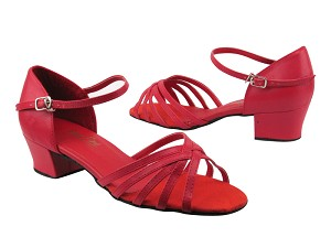 "802 211 Red Leather with 1.5"" Medium Heel in the photo"