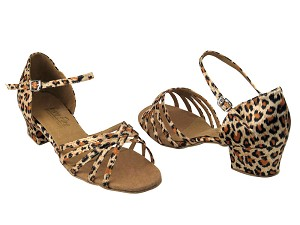 "802 Leopard Satin with 1.5"" Medium Heel in the photo"