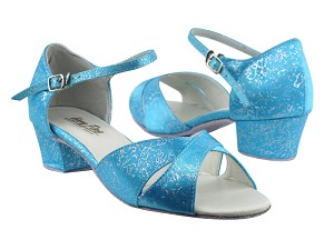 "803 104 Blue Flower Satin with 1.5"" Medium Heel in the photo"