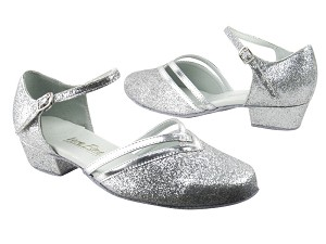 "8881 126 Silver Stardust_55 Silver PU Trim with 1"" Women Heel in the photo"