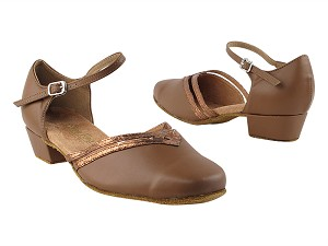 "8881 133 Coffee Brown PU_206 Ultra Copper Trim with 1"" Women Heel in the photo"