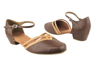 "8881 133 Coffee Brown_157 Beige Brown Trim with 1"" Women Heel in the photo"