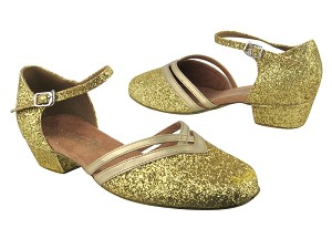 "8881 174 Light Gold Stardust_163 Soft Gold PU Trim with 1"" Women Heel in the photo"