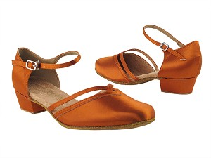 "8881 182 Orange Tan Satin_Whole Shoes with 1"" Women Heel in the photo"