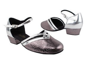 "8881 208 Ultra Grey_H_Silver Leather Trim_B with 1"" Women Heel in the photo"