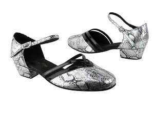 "8881 250 Silver Snake_Black Patent Trim with 1"" Women Heel in the photo"