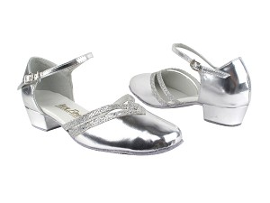 "8881 55 Silver Leather_6 Silver Sparklenet Trim with 1"" Women Heel in the photo"