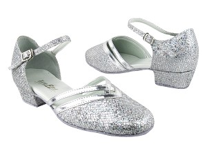 "8881 6 Silver Sparklenet_Silver Leather Trim with 1"" Women Heel in the photo"