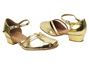 "8881 62 Gold PU with 1"" Women Heel in the photo"