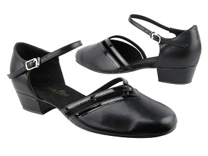 "8881 Black Leather_Black Patent Trim with 1"" Women Heel in the photo"