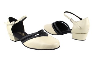 "8881 Creamy White Leather_Black Leather Trim with 1"" Women Heel in the photo"