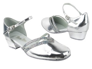 "8881 Silver Leather_172 Grey Scale Trim with 1"" Women Heel in the photo"