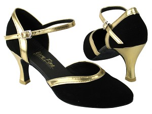 "9621 136 Black Nubuck_Gold Leather Trim with 2.75"" heel in the photo"
