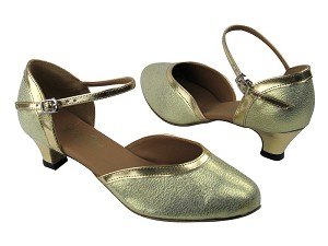 "9621 21 Gold Glitter Satin_Gold Leather Trim with 1.3"" Cuban heel in the photo"