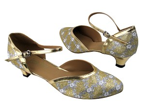 "9621 238 Flower Print Gold Stardust_Gold Leather Trim with 1.3"" Cuban heel in the photo"