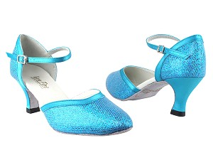 "9621 280 Blue Scale_230 Light Blue Satin Trim with 2.5"" Heel in the photo"