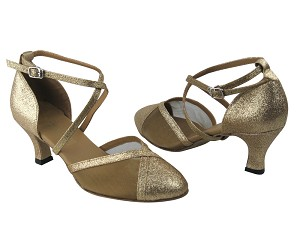 "9622 125 Gold Stardust & Gold Mesh with 2.5"" Low Heel in the photo"
