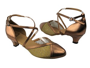 "9622 171 Dark Tan Gold_108 Mesh with 1.3"" Cuban heel in the photo"