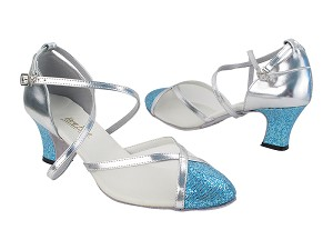 "9622 280 Light Blue Scale_Silver Trim_Flesh Mesh with 2.2"" Thick Cuban Heel (318) in the photo"