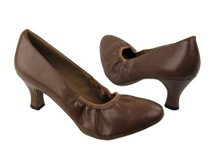 "9624 133 Coffee Brown Leather with 2.5"" Low heel in the photo"