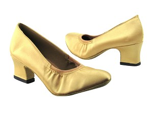 "9624 80 Light Gold Satin with 2"" Thick Cuban heel in the photo"