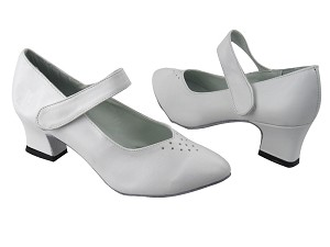 "9626 White Leather with 2"" Thick Cuban Heel in the photo"