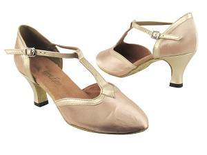 "9627 135 Light Brown Satin_57 Light Gold PU Trim with 2.5"" low heel in the photo"