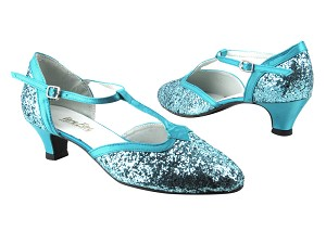 "9627 188 Light Blue Sparkle_230 Light Blue Satin Trim with 1.3"" Cuban heel in the photo"