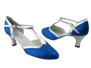 "9627 234 Blue Stardust & Silver Trim with 2.5"" Low Heel in the photo"